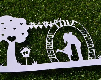 Wedding Anniversary Papercut Template SVG / JPEG Personalise Yourself