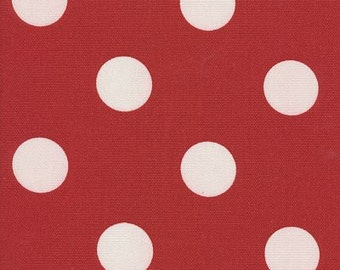 Polka Dot Fabric Red & Off White Indoor Outdoor Fabric