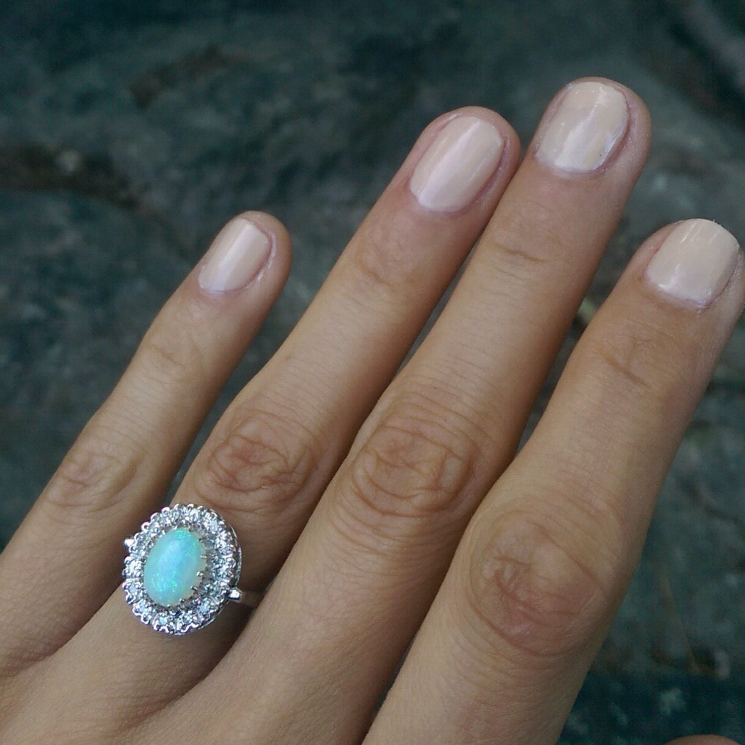 White Gold Opal And Diamond Halo Ring  Size 75 🔎zoom