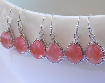 Wedding Jewelry, Bridesmaid  Jewelry, Coral Earrings, Peach, Grapefruit, Bridesmaid Gifts, Bridesmaid Earrings,Drop,Silver, Bridesmaids Gift
