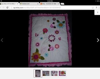 Flowers Appliqued Crib quilt Comforter W 3 DFlowers.        SALE 50% Off. Code:   Allgo50