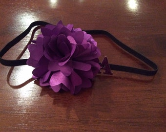 Personalized purple flowered headband