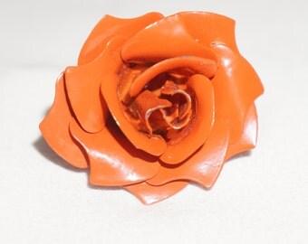 Vintage Orange Flower Metal Ring - Adjustable