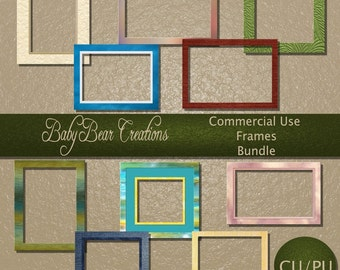 10 Square & rectangular frames. Different colors, textures suitable for numerous scrap kit themes.