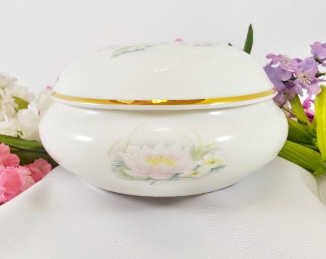 Limoges France Porcelain Lotus Flower Dish Trinket Box