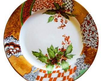Christmas China plate -Hand Painted Porcelain Christmas Plate