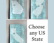Rustic State Art Wood Sign - Choose your state