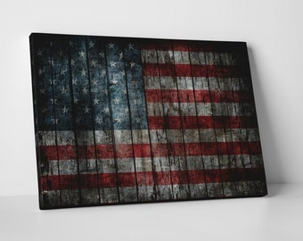 Vintage USA Flag Gallery Wrapped Canvas Print