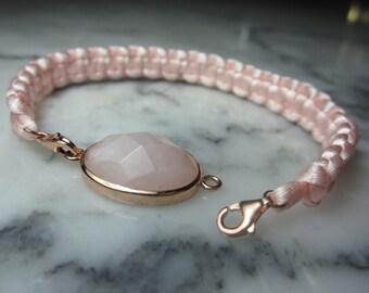 TOM K bracelet Lemon quartz silk velvet Lily Rosequartz Charms summer Rose Gold Friendship bracelet Shamballa