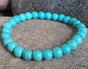 FREE SHIPPING-Men's Bracelet, Men's Beaded Bracelet, Men's Turquoise Gemstone, Turquoise Beaded Bracelet, Men's Bangle Bracelet