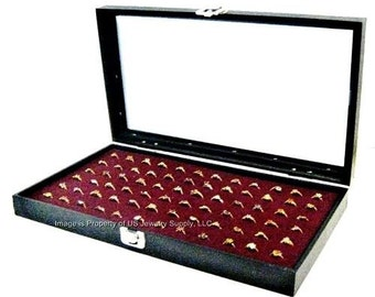 Key Lock Locking Glass Top 72 Ring Burgundy Jewelry Sales, Display Box Storage Case