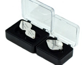 Two Jeweler Loupes 10x-20x Triplet & 30x21mm Magnifying Glass w/ storage cases