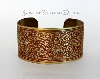 Brass Cuff Etched w/ Floral Knot Motif, Art Nouveau, Organic, Vines, Woman's Bracelet
