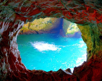Nature Photography - Red Grotto and Bright Blue Sea Photo, 24x36 20x30 16x20 8x10 5x7 fine art wall decor, wall art rich colors rainbow art