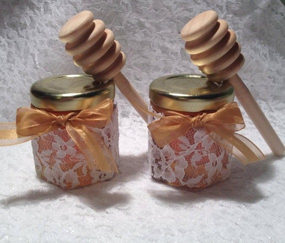 24 Qty Mini Honey Jars Favors Gold Lid And 4 Inch Wood Dipper