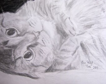 Custom Pet Portrait Drawing of Dog or Cat, From Photo
