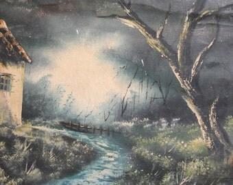 Antique oil painting forest landscape signed