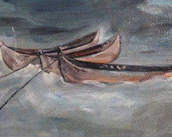Vintage oil painting fishing boats