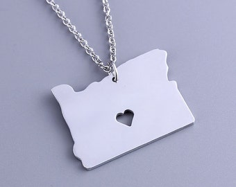 I heart Oregon Necklace - Oregon Pendant - Map Jewelry - State Charm - Map necklace