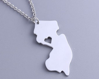 I heart New Jersey Necklace - New Jersey Pendant - State Charm - Map necklace - Map Jewelry