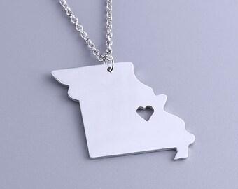 I heart Missouri Necklace - Missouri Pendant - State Charm - Map necklace - Map Jewelry