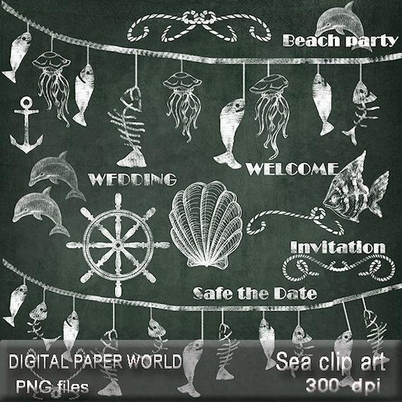 Items similar to Sea wedding chalkboard clipart hand drawn ...
