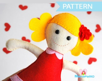 Felt Doll Pattern - Molly Rack doll Sewing pattern A493 PDF Sewing pattern