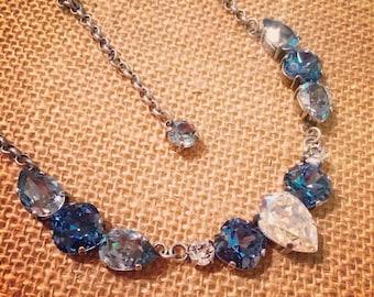 Denim and blue shade Swarovski statement necklace