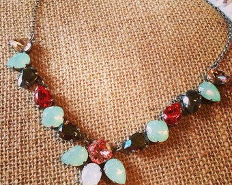 Mint and Coral Swarovski statement necklace