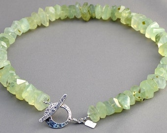 Prehnite nugget necklace.
