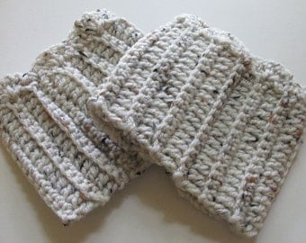 Crochet Boot Cuffs With Scallops in Oatmeal Ready to Ship