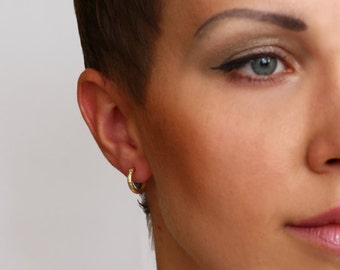 Small gold hoop earring , decorated goldfilled earrings
