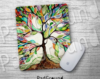 Tree, Personalized Computer Mouse Pad, Tree of Life Mouse Pad, Leaf Natural Soft Fabric rubber backing Mouse Pad - TR02