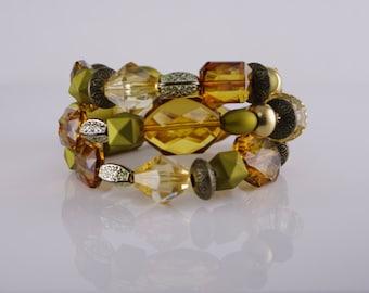 Gold bead memory wire bracelet