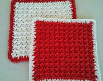 Crochet Wash Cloths, Handmade 100% Cotton, Set of 2, Red and White