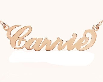 Name Necklaces Rose Gold Plated,925 Sterling Silver Custom Celebrity Carrie Jewelry , Script Style Necklace , Best Gift