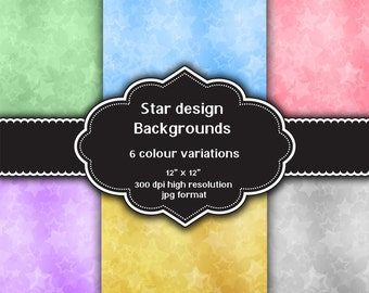 INSTANT DOWNLOAD - Collection of digital star design backgrounds with 6 different colour variations