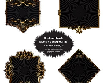 INSTANT DOWNLOAD - Collection of gold and black labels with 4 different designs