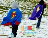 Custom Super Hero Cape with Child's Initial and Lightning Bolt, satin, reversible