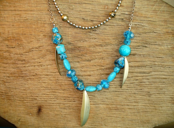 Turquoise Bead Necklace, Turquoise Stone Necklace, Layered Necklace, Gold Leaves Necklace, Glass & Stone Bead Necklace, Marjorie Mae