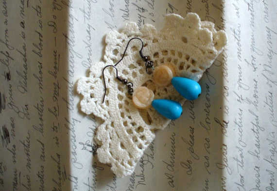 Turquoise Drop Earrings, Cream Carved Rose Drop Earrings, Rose Earrings, Turquoise Earrings, Affordable Earrings, Handmade Earrings