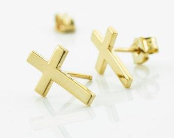 Gold Cross Earrings, Cross Earrings, Trendy Studded Cross Earrings, 10K Gold Cross Earrings, 14k Gold Cross Earrings