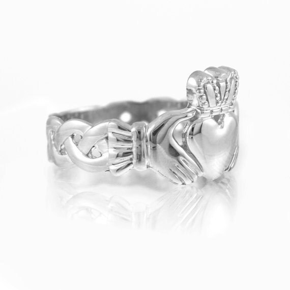 mens white gold claddagh band ring claddagh ring
