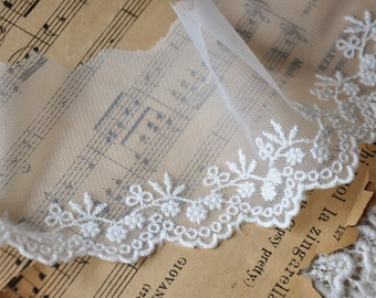 White Flower Lace Trim Embroidered Tulle Trim 2.95 Inch Wide 2 Yards S02