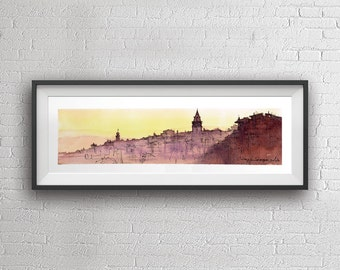 Istanbul panaroma watercolor painting art print