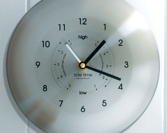 Stainless Steel Time & Tide Clock - Brushed Stainless Steel