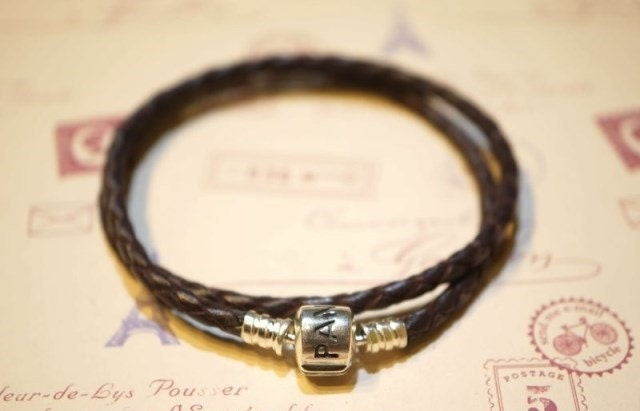 Pandora braided leather bracelet double layers brown