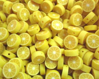 Lemon Polymer Clay Beads Fruit Slices, #403b