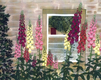 "Greetings card: ""Foxgloves at a cottage window"" - flower card, cottage garden, window, lace curtain, from a painting by Liz Clarke"