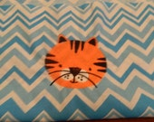 Tiger Chair Pocket Blue Chevron (1 Chair Pocket - You Pick the Wording)